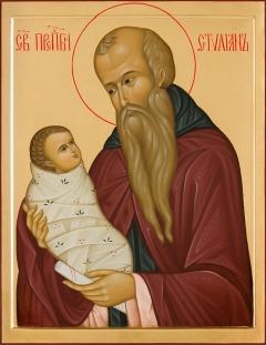 Преподобный Стилиан Пафлагонский. Поясная икона