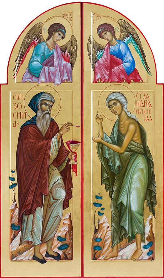 Царские врата с преподобными Зосимой и Марией Египетской